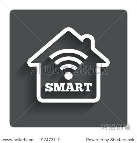 智能家居的信号图标 智能住宅按钮 远程控制 灰色平面与阴影按钮 现代