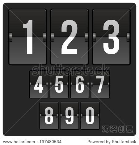 倒数计时器与不同的数字和日期记分牌
