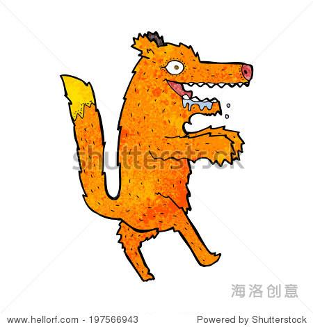 卡通饥饿的狐狸