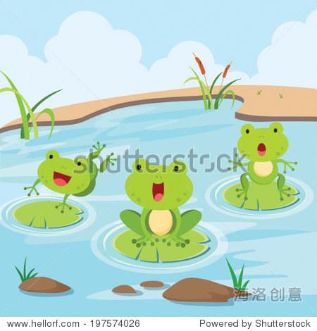 可爱的小青蛙在池塘里玩.