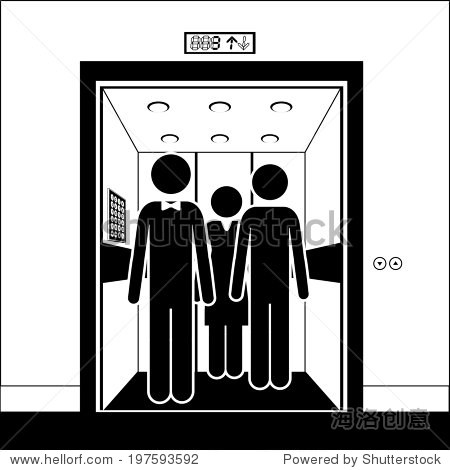 电梯设计在白色背景,矢量插图-背景/素材