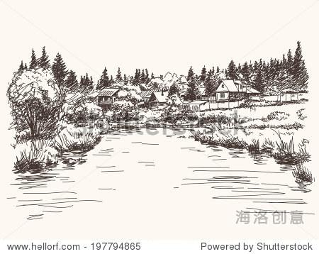 农村景观,手绘插图草图. - 建筑物/地标,自然 - 站酷