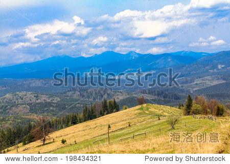 山风景区景观hoverla附近拍摄的.喀尔巴阡,乌克兰,欧洲.山山脊全景.