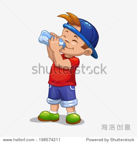 小男孩喝水-艺术,人物-站酷海洛创意正版图片