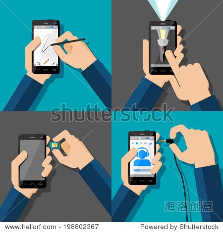 手触屏智能手机.绘画,闪光灯,音乐,sim卡.矢量插图.