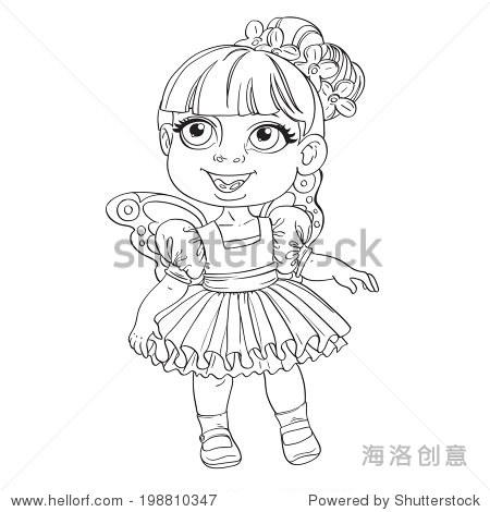 可爱的小女孩的短裙,翅膀了