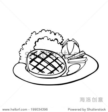 牛排,沙拉,土豆泥板矢量插图