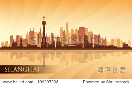 上海城市天际线轮廓背景