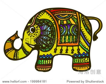 印度动物大象简笔画