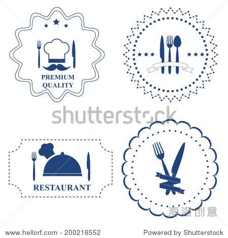 设置餐厅标签和厨房餐具在白色背景上.矢量图