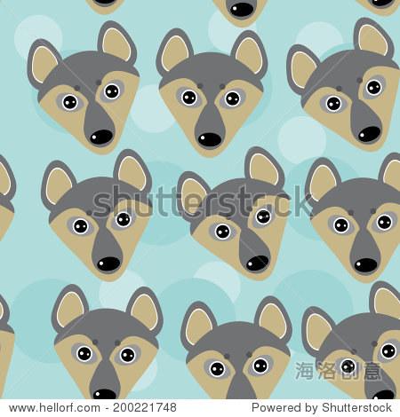 狗狼无缝模式与滑稽可爱的动物的脸在蓝色的背景上.向量