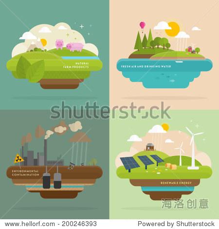 生态学概念向量图标集环境 绿色能源和自然污染的设计 平的风格 可再生能源 天然农产品 新鲜空气和饮用水 自然,符号 标志 站酷海洛创意正版图片,视频