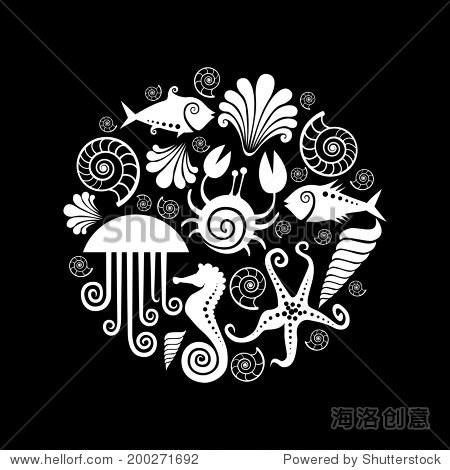 矢量图标的背景海洋动物.圆设计元素