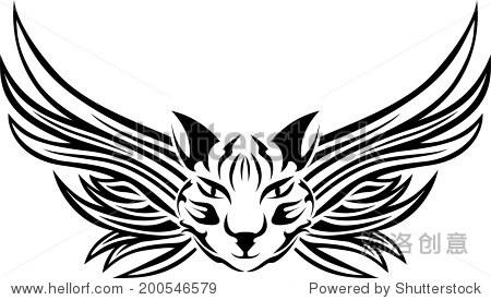 猫长着翅膀,纹身模板