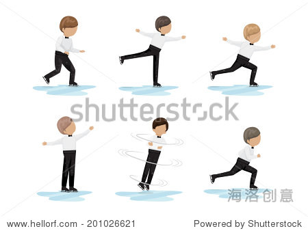 花样滑冰设置-孤立在白色背景矢量图