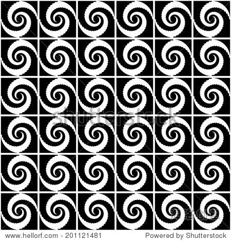 花纹设计无缝单色螺旋运动.摘要旋转背景.矢量艺术