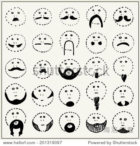 手绘卡通胡子孤立在白色背景-人物,符号/标志-海洛,,.