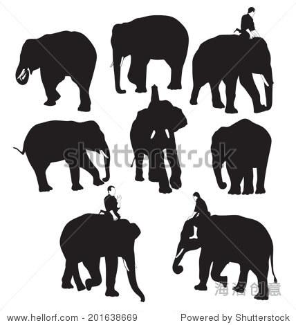 矢量图的轮廓大象