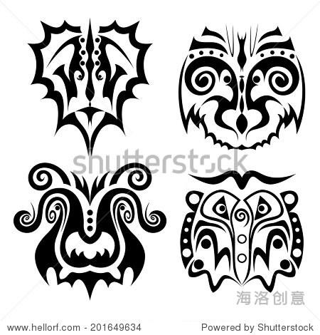 图形的动物脸纹身套,狮子老虎水牛的大象