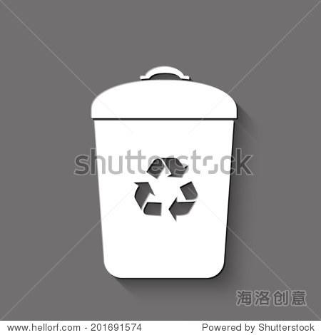 垃圾桶图标——白色的矢量插图与阴影在灰色背景