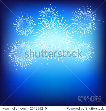 firework pattern on dark blue sky background (vector) 格式:矢量