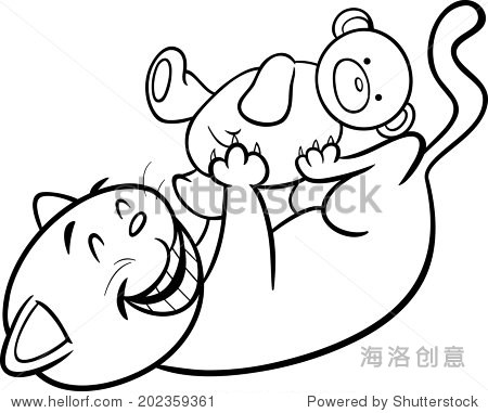 黑白卡通矢量插图的可爱的猫玩泰迪熊着色书