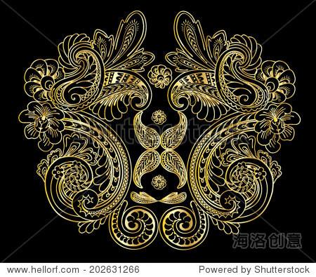 巴洛克装饰黄金颜色的矢量图.用于时尚和其他用途