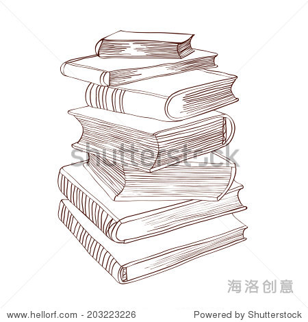堆书.手绘矢量图