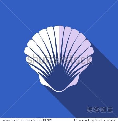 在蓝色背景白色扇贝贝壳平面设计
