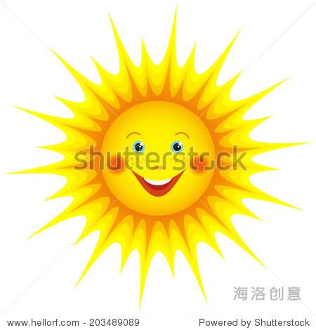 可爱的微笑橙色阳光卡通孤立在白色背景,为设计元素.矢量图