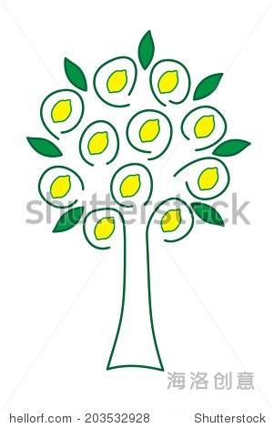柠檬树装饰矢量插图