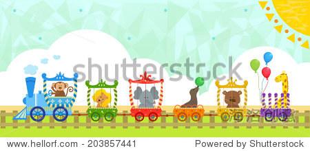 马戏团的火车与背景——可爱的马戏团训练动物宝宝和装饰背景.eps10