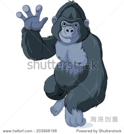 可爱的卡通插图大猩猩打招呼