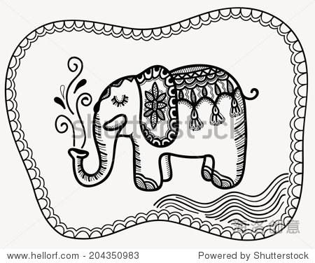 可爱的小象,黑白,图腾部落纹身风格,手绘图形作品