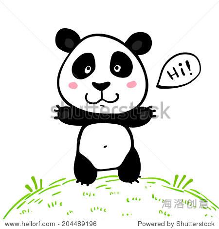 小可爱的涂鸦画矢量熊猫