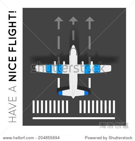 矢量飞机在机场跑道上.俯视图