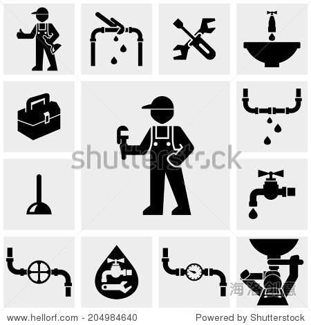水管工矢量图标灰色.