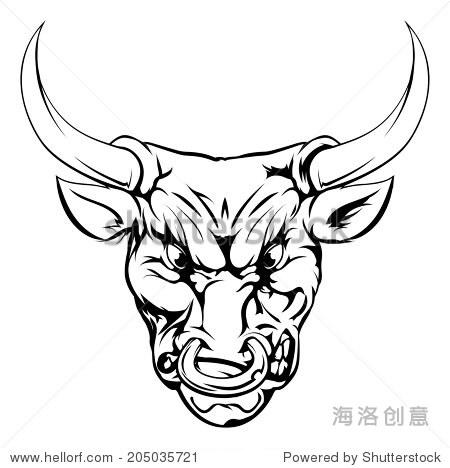 黑白插图的凶猛的公牛动物角色或体育吉祥物