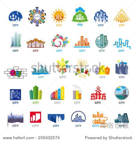 最大城市矢量图标的集合
