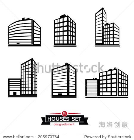 商业中心城市大厦建筑黑色剪影,矢量图标孤立
