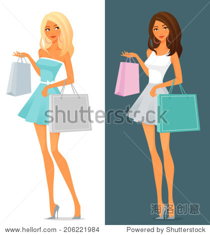 cute cartoon girl in summer dress shopping
