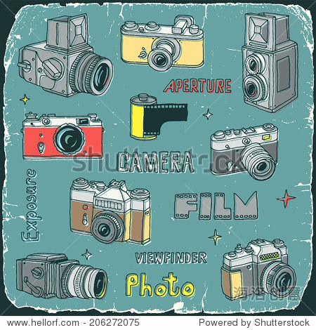 老式胶片相机涂鸦旧纸箱卡片上打印.手绘.矢量插图