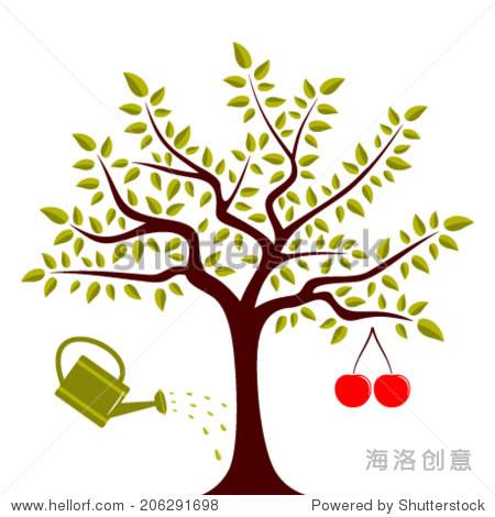向量与一个大樱桃和樱桃树浇水可以孤立在白色背景