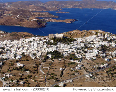 在希腊鸟瞰图拔摩海岛岛