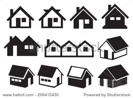 矢量图不同的斜屋顶的房屋在黑色和白色.