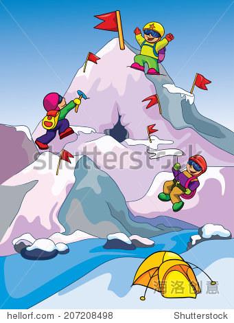 登山者爬山,有色背景矢量图