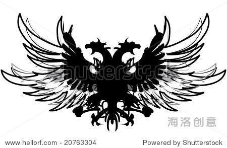 双头龙黑色猎鹰与羽毛的翅膀 - 插图/剪贴图,交通运输