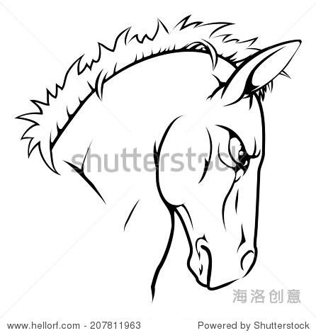 激烈的黑白插图马动物角色或体育吉祥物