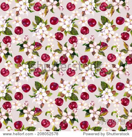 樱桃鲜花和樱桃浆果.无缝的花卉图案.水彩画
