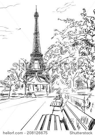 在巴黎街头.埃菲尔铁塔画插图